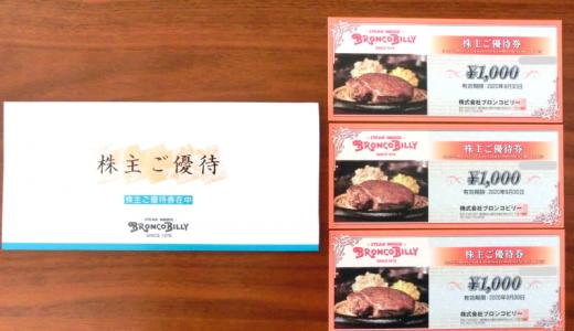 【優待到着】ブロンコビリー(3091)議決権行使でも食事券!